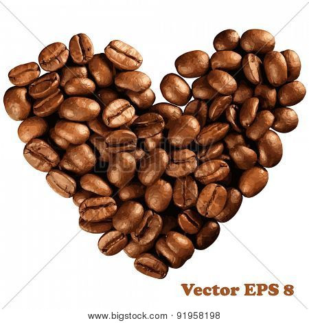 Valentine day heart from coffee beans, vector illustration EPS 8