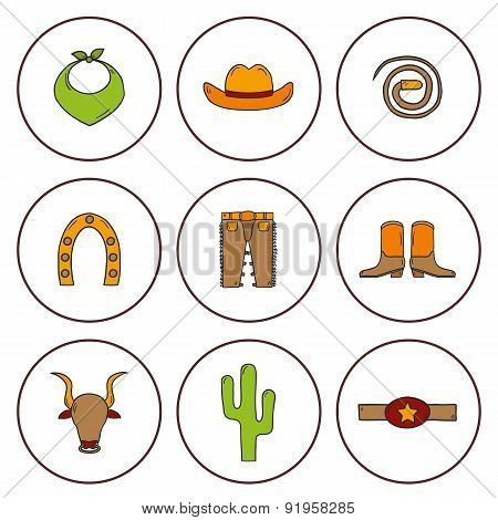 Set of hand drawn rodeo icons