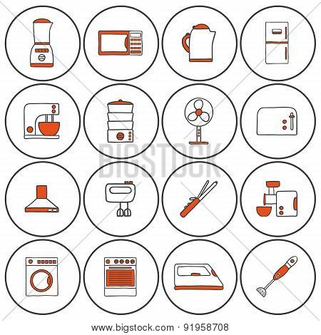 Set of hand drawn icons on home appliance theme