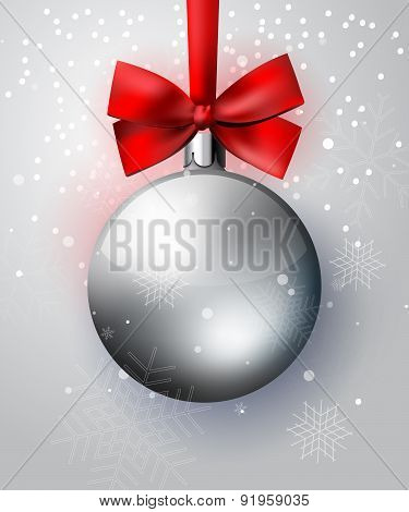 Silver Christmas Decoration Ball With Red Bow