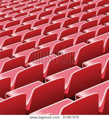 Vector illustration of red seats in a soccer stadium