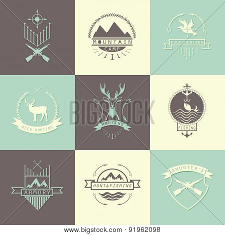 Set Of Camping And  Hunting Logo.