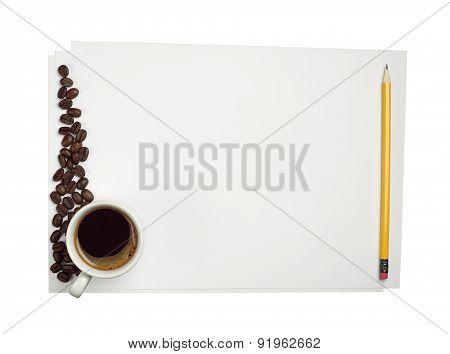 Blank Sheet Of White Paper And Coffee