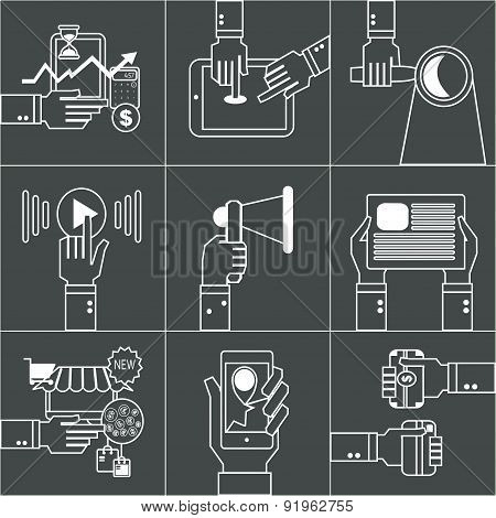 Set Of Linear Business Concept With Hands.