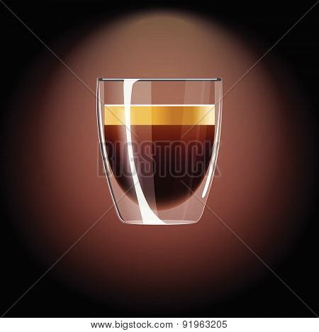 Realistic Coffee Icon. Vector Illustration With Espresso.