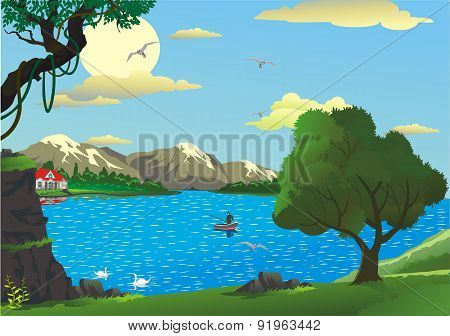 Landscape - Morning On The Lake [
