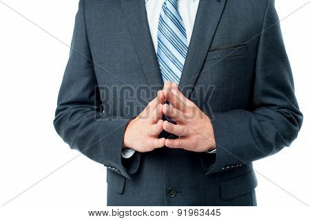 Clasped Hands Of Businessman