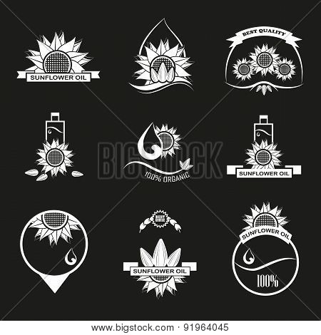 Set Of Sunflower Oil Emblems, Labels And Logo