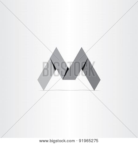 Letter M Paper Bend Icon