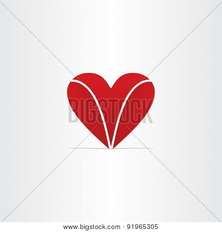 Red Letter V Heart Valentine Symbol