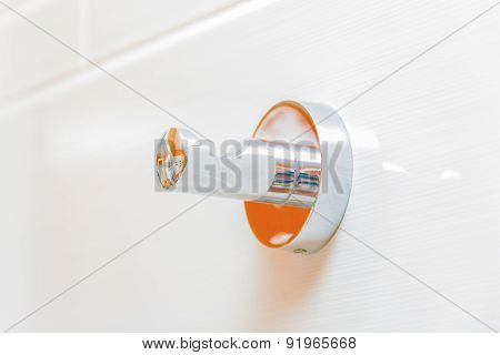 Chrome Towel Hook In Bathroom