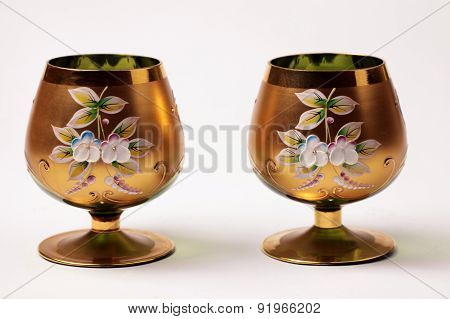 Two Ornate Golden Vine Goblet Glass