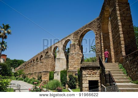 Arches Of San Anton, Aqueduct Of Caceres. Spain