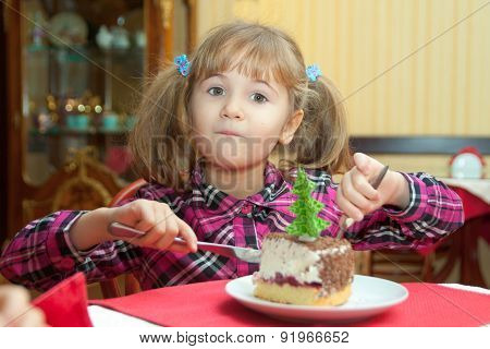 Girl Starts Eating A Cake