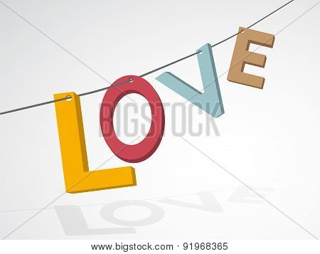 Pastel Colors Inscription Love Strung On A String