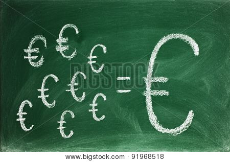 saving concept on blackboard Business and investment concept