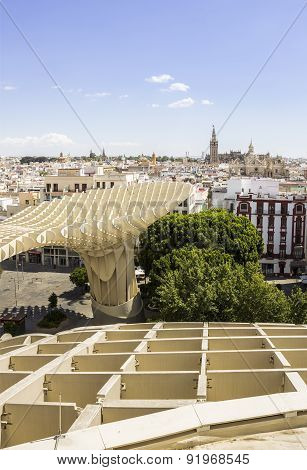 Panoramic View In The Top Of Metropol Parasol In Plaza De La Encarnacion On 31 Of May 2014