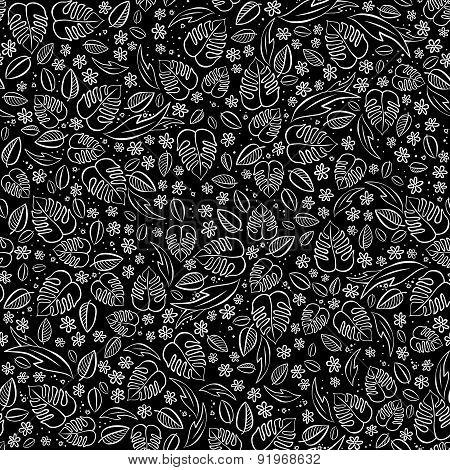 secret garden floral seasonal messy seamless pattern on dark