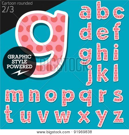 Vector children alphabet set in sweet dots style. File contains graphic styles available in Illustrator. Lowercase letters