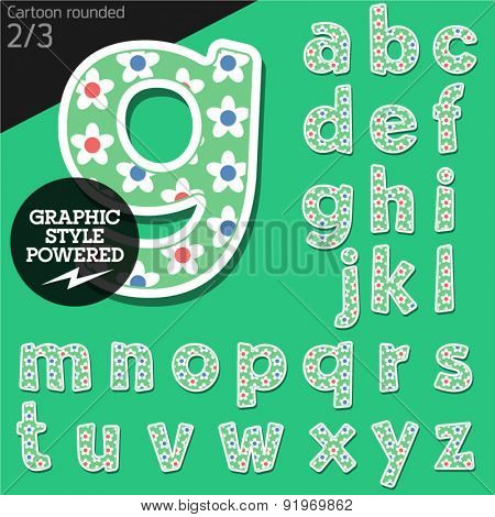 Vector children alphabet set in summer flower style. File contains graphic styles available in Illustrator. Lowercase letters
