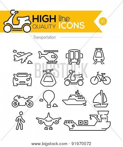 Transportation Line Icons