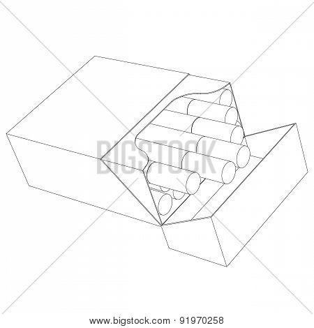 A Pack Of Cigarettes Contour On A White Background