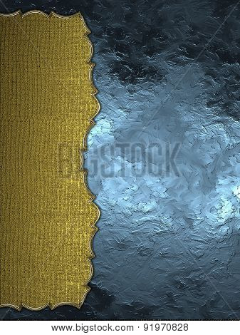 Abstract Blue Background With Gold Edge. Element For Design. Template For Design. Abstract Grunge Ba