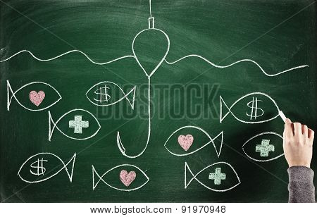 searching for love health and money concepts sketched on blackboard