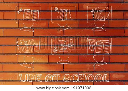 Life At School, Illustration Of A Classroom With Tables, Chairs, Books
