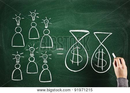 succesful teamwork equals money Business and investment concept