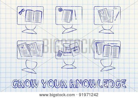 Grow Your Knowledge, Illustration Of A Classroom With Tables, Chairs, Books
