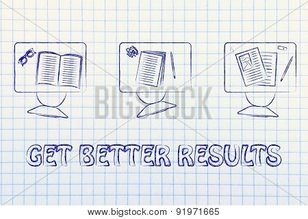 Get Better Results, Illustration Of A Classroom With Tables, Chairs, Books