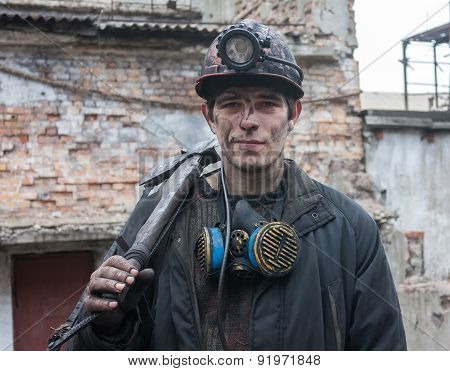 Gorlovka, Ukraine - February 26, 2014: Miner Mine Named Kalinin After Work Shift