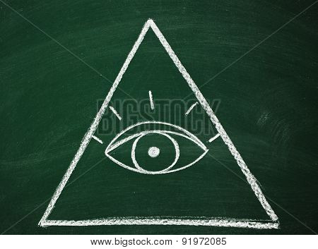 Eye of Providence on pyramid sketched on chalkboard