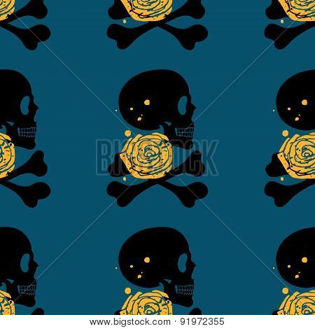 Skull Seamless Pattern On Blue Background
