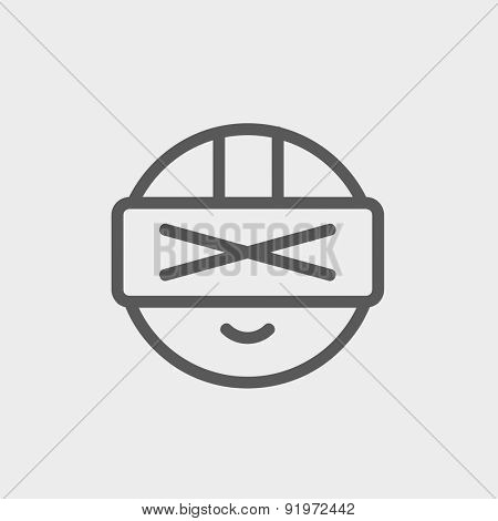 Futuristic headset icon thin line for web and mobile, modern minimalistic flat design. Vector dark grey icon on light grey background.