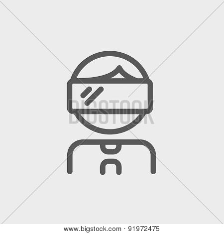Young boy with VR headset icon thin line for web and mobile, modern minimalistic flat design. Vector dark grey icon on light grey background.