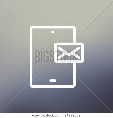 Smartphone message icon thin line for web and mobile, modern minimalistic flat design. Vector white icon on gradient mesh background.
