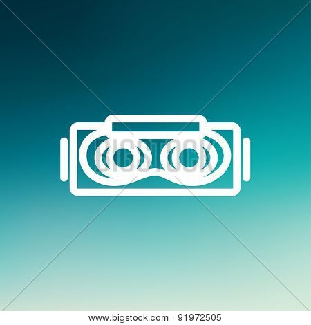 Virtual reality mask icon thin line for web and mobile, modern minimalistic flat design. Vector white icon on gradient mesh background.