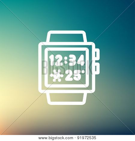 Trendy smartwatch icon thin line for web and mobile, modern minimalistic flat design. Vector white icon on gradient mesh background.