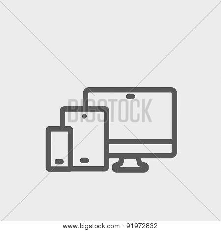 Wireless gadget icon thin line for web and mobile, modern minimalistic flat design. Vector dark grey icon on light grey background.