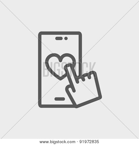 Cellphone with heart icon thin line for web and mobile, modern minimalistic flat design. Vector dark grey icon on light grey background.