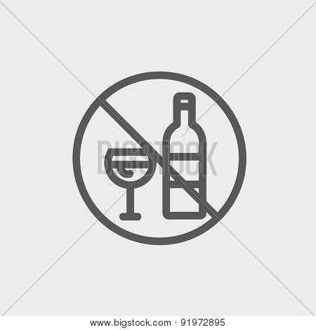 No alcohol sign icon thin line for web and mobile, modern minimalistic flat design. Vector dark grey icon on light grey background.