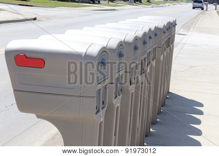 Identical mailboxes in a row