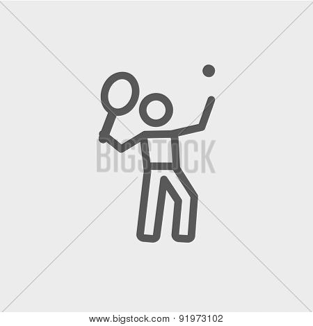 Tennis player in serving position icon thin line for web and mobile, modern minimalistic flat design. Vector dark grey icon on light grey background.