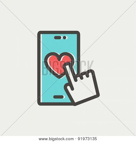 Cellphone with heart icon thin line for web and mobile, modern minimalistic flat design. Vector icon with dark grey outline and offset colour on light grey background.