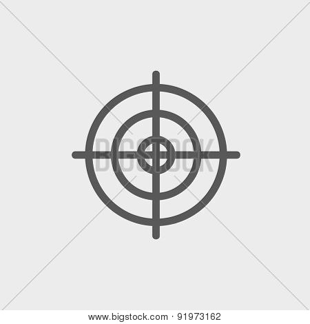 Crosshair target icon thin line for web and mobile, modern minimalistic flat design. Vector dark grey icon on light grey background.