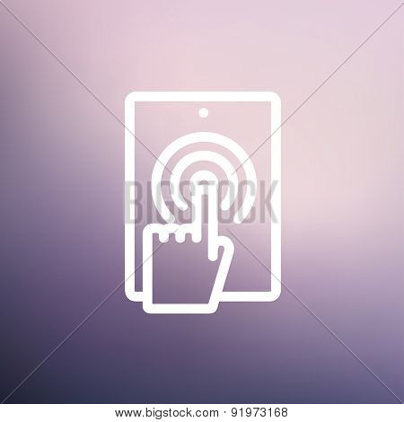 Touch mark in mobile phone icon thin line for web and mobile, modern minimalistic flat design. Vector white icon on gradient mesh background.