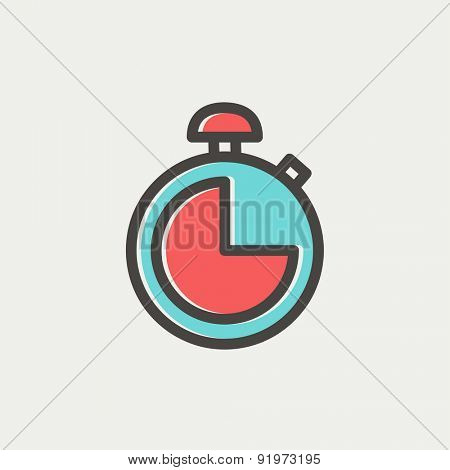 Stopwatch icon thin line for web and mobile, modern minimalistic flat design. Vector icon with dark grey outline and offset colour on light grey background.