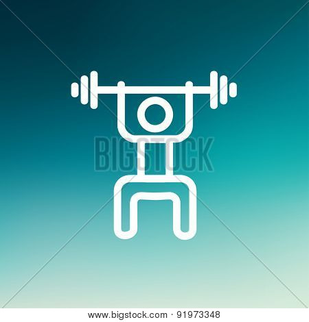 Weightlifter man with barbell icon thin line for web and mobile, modern minimalistic flat design. Vector white icon on gradient mesh background.